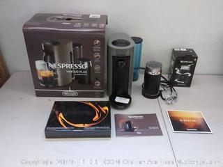 Nespresso by De'Longhi ENV150GYAE VertuoPlus Coffee and Espresso Machine Bundle with Aeroccino Milk Frother, Grey