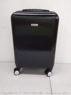 amazonbasics metallic spinner black suitcase 20 in