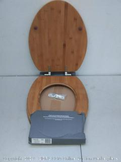 MAYFAIR Solid Bamboo Toilet Seat with Brushed Nickel Hinges