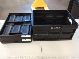 Clevercrates 32L Collapsible Storage Crate Black 3 Pack ( 2 in perfect condition 1 has small crack but is still useable)