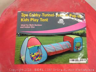 3 piece cubby tunnel teepee pop up kids play tent by Kiddey