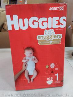 Huggies Little Snugglers Baby Diapers, Size 1 (up to 14 lb.), 198 Ct, Economy Plus Pack (Packaging May Vary)