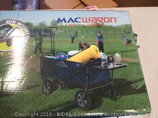 Folding Utility Wagon with Table Outdoor Drink Holder in Blue