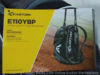 EASTON E110YBP Youth Bat & Equipment Backpack Bag Baseball Softball 2019 Black 2 Bat Sleeves Smart Gear Storage Valuables Pocket Rubberized Zipper Pulls Fence Hook