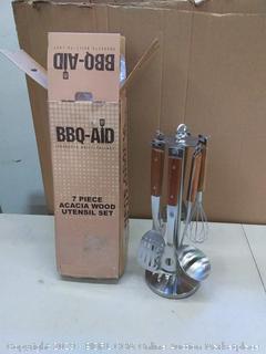 BBQ Aid 7 piece wood utensil set