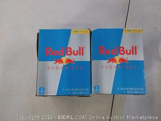 2 PACK Red Bull Energy Drink, Sugar Free, 4 Pack of 8.4 Fl Oz, Sugarfree