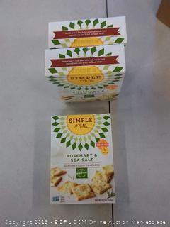 3 PACK Simple Mills Almond Flour Crackers - Rosemary & Sea Salt 4.25 oz
