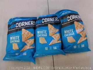 POPCORNERS Cheddar Feel-Good, Popcorn Chips 3 BAGS
