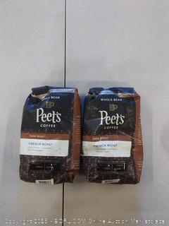 2 BAGS Peet's Coffee French Roast Dark Roast Whole Bean Coffee, 20 Ounce Bag