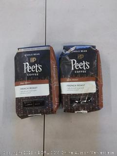 2 BAGS Peet's Coffee French Roast Dark Roast Whole Bean Coffee, 20 Ounce Bag Peetnik Value Pack