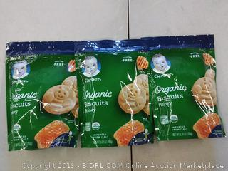3 PACK Gerber Organic Gluten Free Honey Biscuits 5.29 oz. Pouch