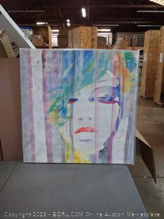 BEGIN DECO MAISON - HOME DECOR Watercolor Lady in Grey & Purple Wrapped Canvas, 36x36