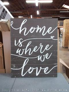 """Kindred Hearts 34""""x43"""" Home is Where We Love Black Shiplap Wall Sign"""