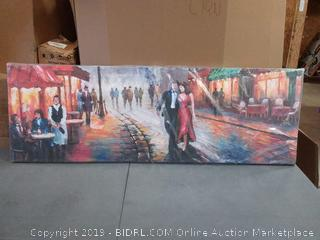 City street canvas painting 5 foot by 20 inch