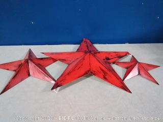 Bellaa 21369 Metal Star Wall Decor Set of 3 Red (one bent)