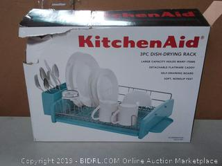 KitchenAid 3-Piece Dish Rack, Aqua Sky slightly bent