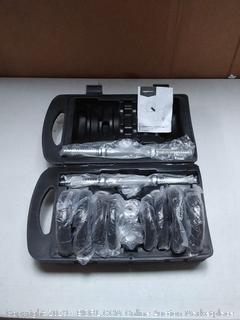 weight set with case, broken latch on case (online $44)