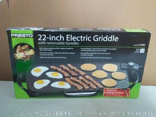 "Presto 07061 22"" Electric Griddle with removable handles Black"