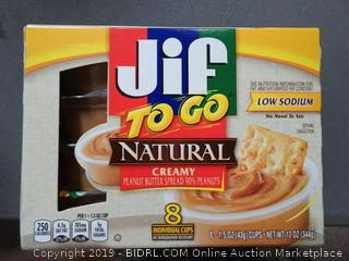 Jif To Go Natural Creamy Peanut Butter, 1.5 oz., 6-12oz 3pack (24Total Cups)
