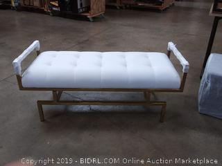 Iconic Home Bruno PU Leather Modern Contemporary Tufted Goldtone Metal Leg Bench, White (Online $346.97)