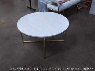 "WE Furniture Modern Round Coffee Accent Table Living Room, 36"", Faux White Marble, Gold (Online $129.86)"