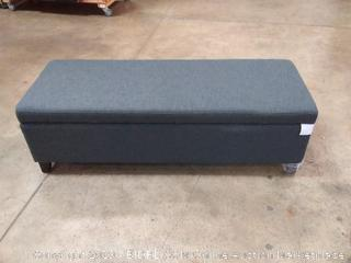 "Simpli Home Avalon 48"" Contemporary Storage Ottoman in Slate Grey Fabric (Online $127.99)"