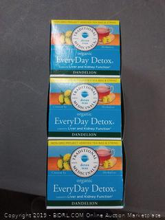 Traditional Medicinals Organic Everyday Detox Dandelion Tea -- PACK of 3