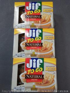 Jif To Go Natural Creamy Peanut Butter, 1.5 oz., 6-12oz 8 pack (24 Total Cups)