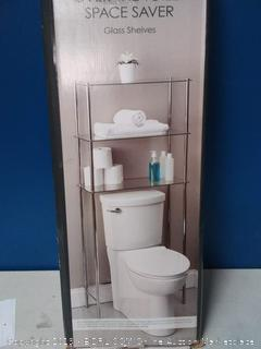 over the toilet space saver glass shelves