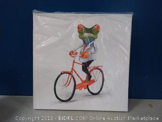 BEGIN DECO MAISON - HOME DECOR Funny Frog Riding a Bike Wrapped Canvas, 24x24, Multicolor