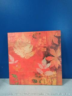 leaves red wooden wall art 24 x 24