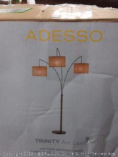 "Adesso 4238-26 Trinity Arc Floor Lamp Antique Bronze Finish, Beige Burlap Lamp. Home Decor Lamps and Light Fixtures, 82"""