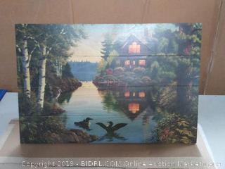 Lake cabin wooden wall art