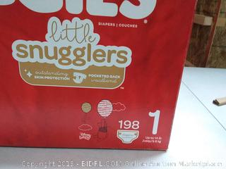 Huggies Little Snugglers Baby Diapers, Size 1 (up to 14 lb.), 198 Ct