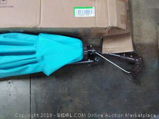 LED market umbrella 10-foot with push button tilt and crank sky blue
