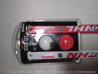 Franklin Sports Mini Hockey Stick and Ball Set - NHL - Includes 2 Mini Sticks and Foam 2 Balls