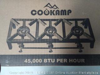 COOKAMP Triple Burner Angle Iron Camp Stove with CSA Listed Regulator and 4ft Hose [SA3200]