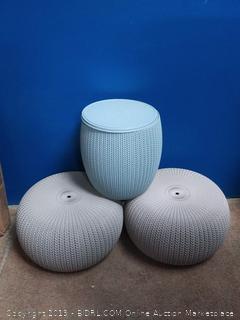 Keter 228474 Urban Knit Pouf Set, Dune/Misty Blue (online $101)