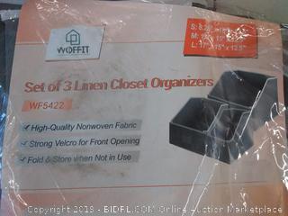 Linen Closet Storage Organizers &ndash Set 3 Foldable Baskets