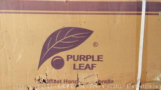 Purple Leaf 12' Offset Hanging Umbrella
