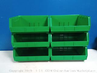 green stackable storage bins