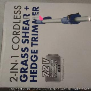 2 in 1 cordless grass shear and hedge trimmer Sun Joe brand