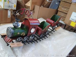 "29.5""L Metal Holiday ""Joy"" Train With Sleigh Cars In Traditional Vintage Colors"