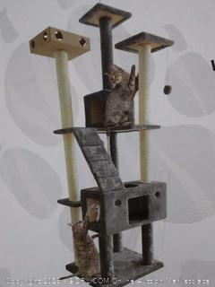 Furhaven Tiger Tough Double Decker Cat Playground Tree - Gray