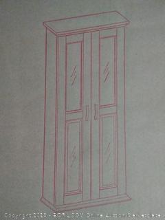"Walker Edison 4 Tier Shelf Living Room Storage Tall Bookshelf Cabinet Doors Home Office Tower Media Organizer, 41"" x 8"" x 18"", Black"