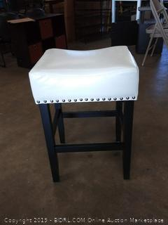 black and ivory bar stool with metal buttons