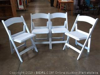 Flash Furniture White Wood Upholstered Vinyl Standard Folding Chair 4count