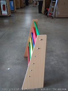 wooden rainbow shoe rack