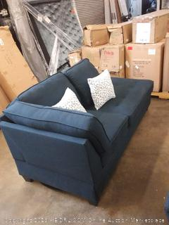 dark blue lounge couch( upholstery ripped underneath and back bracing loose)