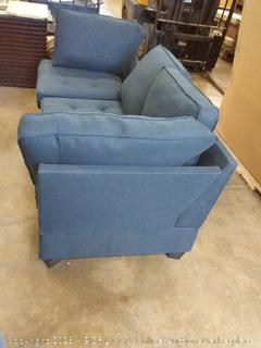 dark blue couch( missing and loose back bracing Missing and wrong size fitted cushions)